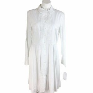 Cremieux Emily White Shirt Dress Collared Button